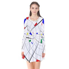 Swirl Grid With Colors Red Blue Green Yellow Spiral Flare Dress by designworld65