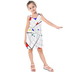 Swirl Grid With Colors Red Blue Green Yellow Spiral Kids  Sleeveless Dress by designworld65