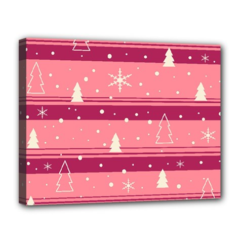 Pink Xmas Canvas 14  X 11  by Valentinaart