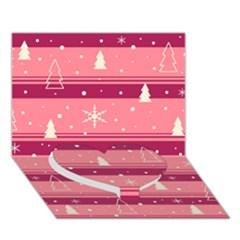 Pink Xmas Heart Bottom 3d Greeting Card (7x5) by Valentinaart