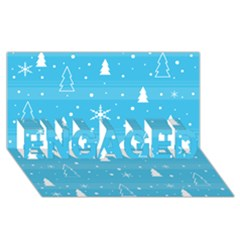 Blue Xmas Engaged 3d Greeting Card (8x4) by Valentinaart
