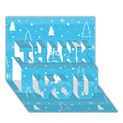 Blue Xmas THANK YOU 3D Greeting Card (7x5) by Valentinaart