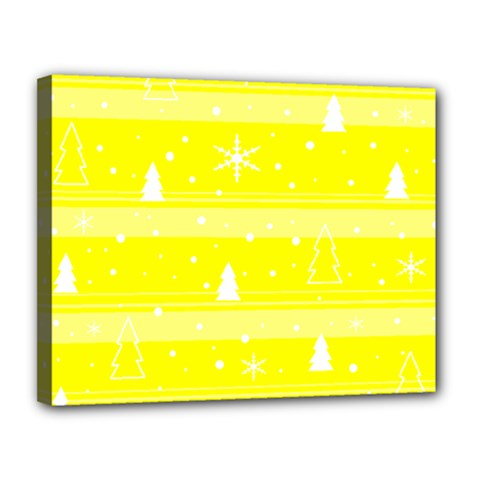Yellow Xmas Canvas 14  X 11  by Valentinaart