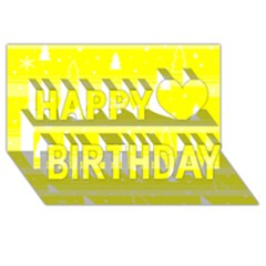 Yellow Xmas Happy Birthday 3d Greeting Card (8x4) by Valentinaart