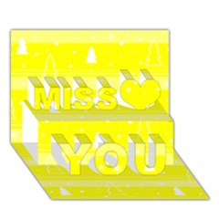 Yellow Xmas Miss You 3d Greeting Card (7x5) by Valentinaart