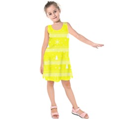 Yellow Xmas Kids  Sleeveless Dress