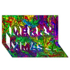 Hot Liquid Abstract A Merry Xmas 3d Greeting Card (8x4) by MoreColorsinLife