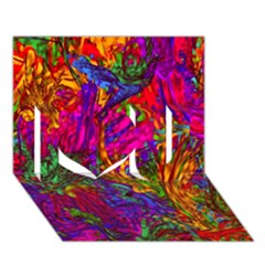Hot Liquid Abstract B  I Love You 3d Greeting Card (7x5)