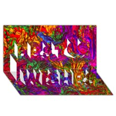 Hot Liquid Abstract B  Best Wish 3d Greeting Card (8x4) by MoreColorsinLife