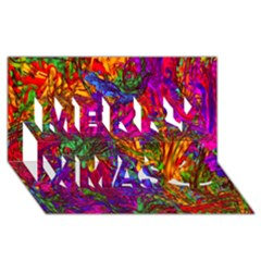 Hot Liquid Abstract B  Merry Xmas 3d Greeting Card (8x4) by MoreColorsinLife