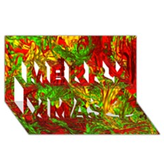 Hot Liquid Abstract C Merry Xmas 3d Greeting Card (8x4) by MoreColorsinLife