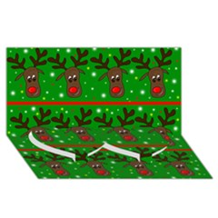Reindeer Pattern Twin Heart Bottom 3d Greeting Card (8x4) by Valentinaart