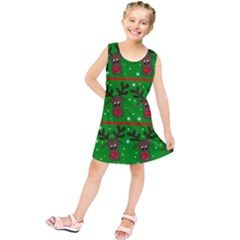 Reindeer Pattern Kids  Tunic Dress