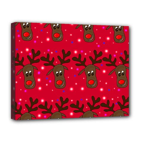 Reindeer Xmas Pattern Canvas 14  X 11  by Valentinaart