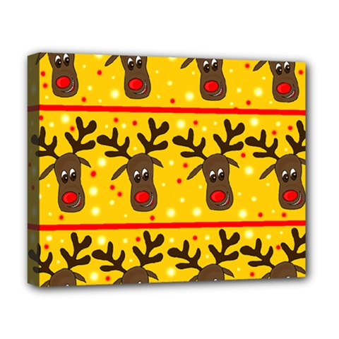 Christmas Reindeer Pattern Deluxe Canvas 20  X 16   by Valentinaart