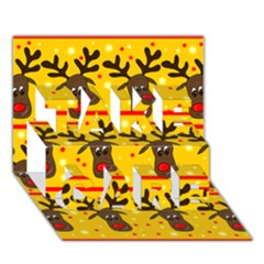 Christmas Reindeer Pattern Take Care 3d Greeting Card (7x5) by Valentinaart