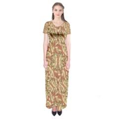 Geometric Bold Cubism Pattern Short Sleeve Maxi Dress by dflcprintsclothing