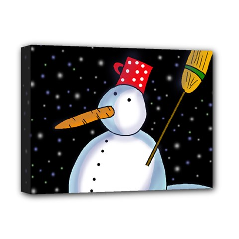 Lonely Snowman Deluxe Canvas 16  X 12   by Valentinaart