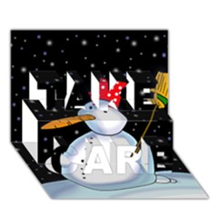 Lonely Snowman Take Care 3d Greeting Card (7x5) by Valentinaart