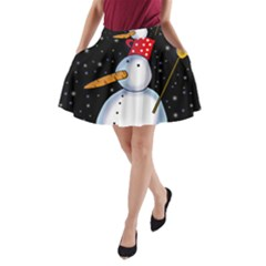 Lonely Snowman A Line Pocket Skirt by Valentinaart