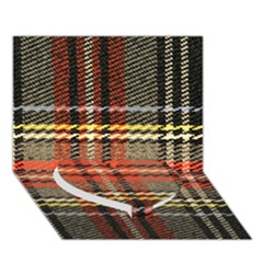 Fabric Texture Tartan Color  Heart Bottom 3d Greeting Card (7x5) by AnjaniArt