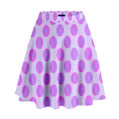 Pastel Pink Mod Circles High Waist Skirt by BrightVibesDesign