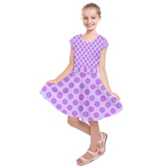 Pastel Pink Mod Circles Kids  Short Sleeve Dress by BrightVibesDesign