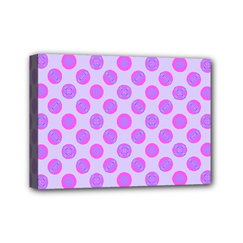 Pastel Pink Mod Circles Mini Canvas 7  X 5  by BrightVibesDesign