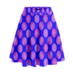 Bright Mod Pink Circles On Blue High Waist Skirt by BrightVibesDesign