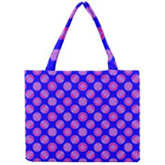Bright Mod Pink Circles On Blue Mini Tote Bag by BrightVibesDesign