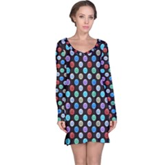 Death Star Polka Dots In Multicolour Long Sleeve Nightdress by fashionnarwhal