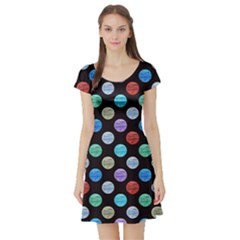 Death Star Polka Dots In Multicolour Short Sleeve Skater Dress by fashionnarwhal