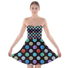 Death Star Polka Dots in Multicolour Strapless Bra Top Dress by fashionnarwhal