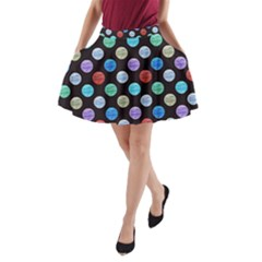 Death Star Polka Dots In Multicolour A Line Pocket Skirt