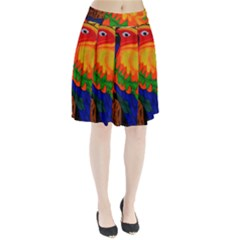 Parakeet Colorful Bird Animal Pleated Skirt by AnjaniArt