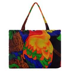 Parakeet Colorful Bird Animal Medium Zipper Tote Bag by AnjaniArt