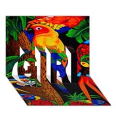 Parrots Aras Lori Parakeet Birds Girl 3d Greeting Card (7x5) by AnjaniArt