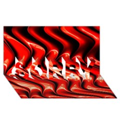 Red Fractal  Mathematics Abstact Sorry 3d Greeting Card (8x4)