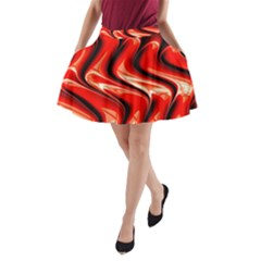 Red Fractal  Mathematics Abstact A Line Pocket Skirt by AnjaniArt