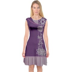 Purple Plank And Flowers Capsleeve Midi Dress by DeneWestUK