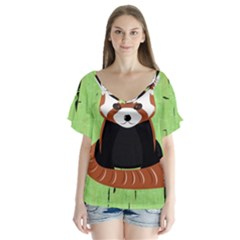 Red Panda Bamboo Firefox Animal Flutter Sleeve Top