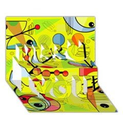 Happy Day   Yellow Miss You 3d Greeting Card (7x5)