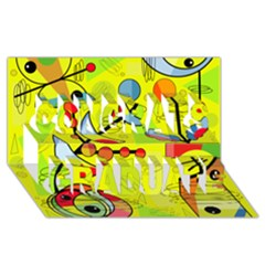 Happy Day   Yellow Congrats Graduate 3d Greeting Card (8x4) by Valentinaart