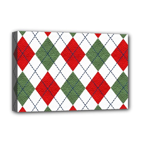 Red Green White Argyle Navy Deluxe Canvas 18  X 12   by AnjaniArt