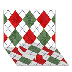Red Green White Argyle Navy Circle Bottom 3d Greeting Card (7x5) by AnjaniArt