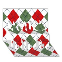 Red Green White Argyle Navy You Did It 3d Greeting Card (7x5)
