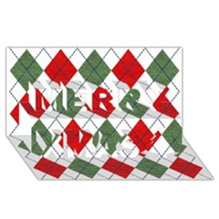 Red Green White Argyle Navy Merry Xmas 3d Greeting Card (8x4) by AnjaniArt