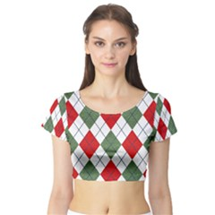 Red Green White Argyle Navy Short Sleeve Crop Top (tight Fit)