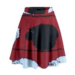 Sheep Pattern High Waist Skirt by AnjaniArt