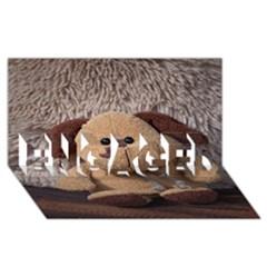 Stuffed Animal Fabric Dog Brown ENGAGED 3D Greeting Card (8x4) by AnjaniArt